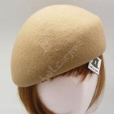 FASHION Wool Felt Women Soft Beret Pillbox Hat Cadet Military NEW   57cm   Beige