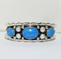 Sterling Silver Turquoise Stone Cuff Bracelet Mother of Pearl Navajo Signed SC