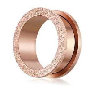 3-20mm Plug Flesh Tunnel Kristall rose gold Edelstahl Piercing