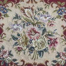 Vintage Hand Embroidered Cushion Cover Tapestry Micro Petitpoint Needlepoint