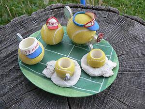 NUOVO Ranger International mini servizio da tè tennis vintage dipinto a mano