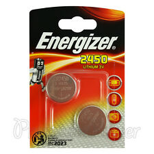 2 x Energizer Lithium CR2450 batteries 3V Coin cell DL2450 ERC2450 Pack of 2