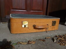 Vintage Quality RETRO 1950s Leather Hide Green Canvas SUITCASE Prop Shop Display