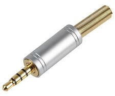 "GOLD TRRS 4 PIN/POLE 3.5mm 1/8"" JACK PLUG CONNECTOR REPLACE AUDIO/VIDEO/HEADSET"