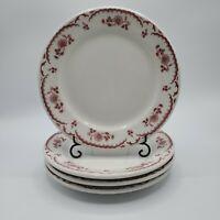 """Set of 4 VTG Shenango Restaurant Ware Chardon Rose Red 8 1/8"""" Salad Lunch Plate"""