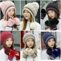 Women Knitted Hat Gloves Set Xmas Gift Winter Warm Thicken Crochet Beanie Hat US