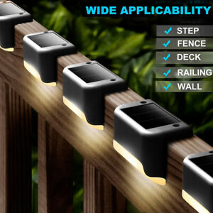 4 Outdoor Solar LED Deck Lights Path Garden Patio Pathway Stairs Step Fence Lamp