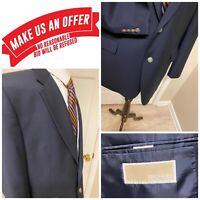 💎Michael Kors💎Navy Blue Silver Shield Button Blazer Jacket 46 L E0923
