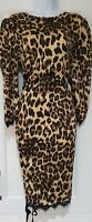 Womens ASOS Black Brown Animal Leopard Ruched Puff Sleeves Lace Trim Dress 16.