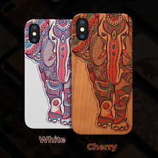 Elephant  Wood Case iPhone 13/12/11/11 Pro/Max/Mini, X/XR/XS Max