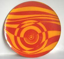 """HUGE 15"""" Mid Century 60's Orange/Red OP ART ENAMEL Modernist COPPER TRAY"""