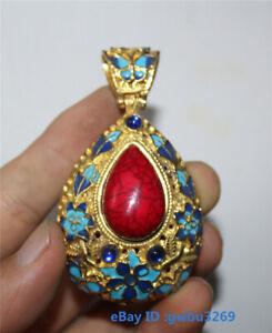 Chinese Tibetan silver Cloisonne inlaid zircon Pendant