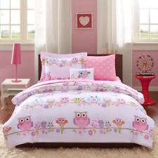 Full Size Comforter Set Bedding Pink Owl Teens Kids Girls Sheets Bedspread Dorm