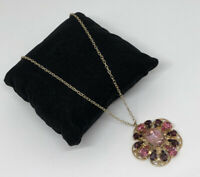 Vintage Necklace & Pendant Gold Tone Pink Crystals Pretty Sparkly Kitsch Costume