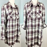 SIZE 1X Style & Co Plaid Button Up Tunic Top Blouse Shirt Women's Plus NWT New