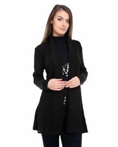 New Ladies Women Knitted Long Sleeve Boyfriend Cardigan Crochet Dress Top Black