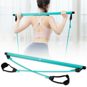 Portable Pilates Bar Kit with Resistance Band Adjustable Exercise Stick Toning
