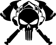 2x PUNISHER FIREFIGHTER AXE SNIPER SKULL DIE CUT VINYL DECAL STICKER RED LINE