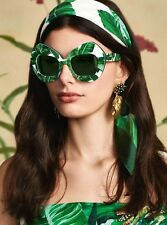DOLCE & GABBANA BOTANICAL GARDEN Sunglasses DG 4290 White Green Leaves 3077/71
