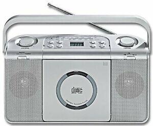 Kofferradio mit CD silbern MW/UKW-Stereo-Radio AUX Netz- oder Batteriebetrieb