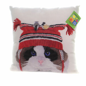 Christmas Cat With Birds Pillow Fabric Indoor Outdoor Calico Slcbht