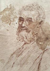 Unknown Artist Pen on Paper, Portrait MICHELANGELO, 27x19cm 19th Century, SIGNED