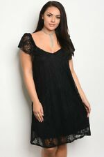Women's Plus Size Black Lace Cap Sleeve Dress with Sweetheart Neckline 2XL NWT