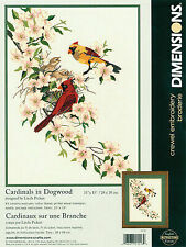 Dimensions Crewel Embroidery Kit Cardinals in Dogwood 1516 1998