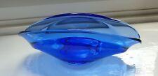 Squat shaped blue art glass ornament