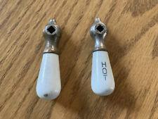 Vintage Antique porcelain hot cold sink faucet handles pair