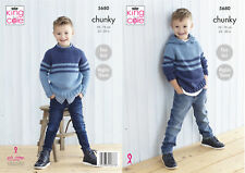 Easy Knit Knitting Pattern Boys Sweater & Hooded Jumper King Cole Chunky 5680