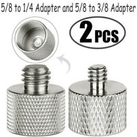 """2x Mic Stand 5/8"""" Female to 1/4"""" to 3/8"""" Male Thread Adapter Microphone Adaptor"""