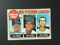 Jim Lonborg signed 1968 Topps baseball card #10 1967 AL W Leaders Auto Autograph