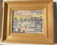 "Framed ORIGINAL Art Mini Painting, St. Petersburg, Russia ""The Exchange"" Signed"