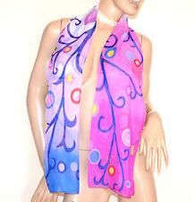 STOLA donna rosa fucsia lilla foulard coprispalle velato fantasia colorata A44