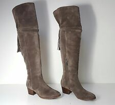 $548 size 5.5 Frye Clara Tassel Gray Oiled Suede Over Knee Boots Womens Shoes