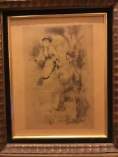 Rare Antique Renoir signed R Framed Vintage Print Wall Art Pretty Lady Man