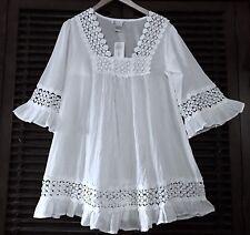 L White Cotton Crochet Lace Peasant Long Tunic Boho Top Blouse Coverup (XL)