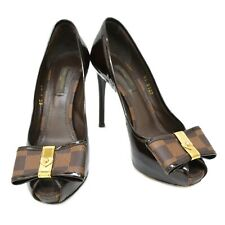 Authentic Louis Vuitton Damier Patent Open Toe Heel Pumps Shoes Ribbon #35.5 LV