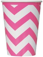 CHEVRON HOT PINK/MAGENTA PAPER CUPS 355ML BIRTHDAY PARTY SUPPLIES PACK OF 6