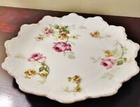"R C Malmaison 9"" Scallope China Plate Pink Rose Gold Bavaria Antique 2 lot Pair"