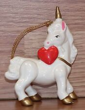 Unbranded White Ceramic Unicorn With Red Heart Christmas Ornament *Read*