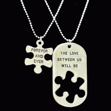 Best Friends Couples Partners I Love You Forever Pieces of the Puzzle Necklaces