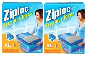 2 ~ ZIPLOC Flexible Storage Tote Heavy Duty Clear Plastic Stack-able ~ XL 10 Gal