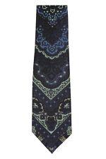 Tom Ford 100% Silk Neck-Tie Dark Blue & Green Fantasy