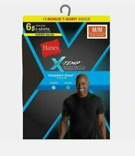 Hanes X-Temp Men's Tagless Short Sleeve T-shirt - Black, XXL (Pack of 6) (MXT1B6)