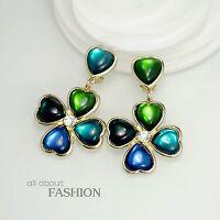 Rings` Ears Clip On Golden Clover Green Emerald Blue Asymmetry Marriage OSC2