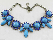 VINTAGE!! HANDCRAFTED ART DECO STYLE FLOWER BIB SILVER NECKLACE 18 1/2
