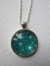 Verde Azulado & Blanco Cristal Collar Colgante Plata De Diseño Estrellas Nuevo En Bolsa De Regalo