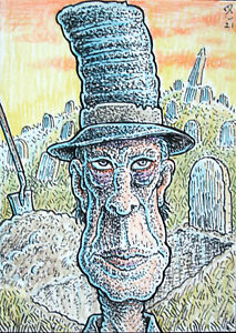 ACEO  Fantasy Original Grave Digger
